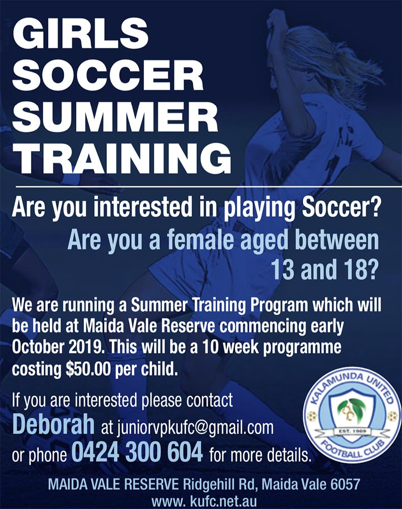 Girls Summer Soccer Training 2019